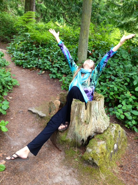 Shana sprouting out of a tree stump in bliss :)